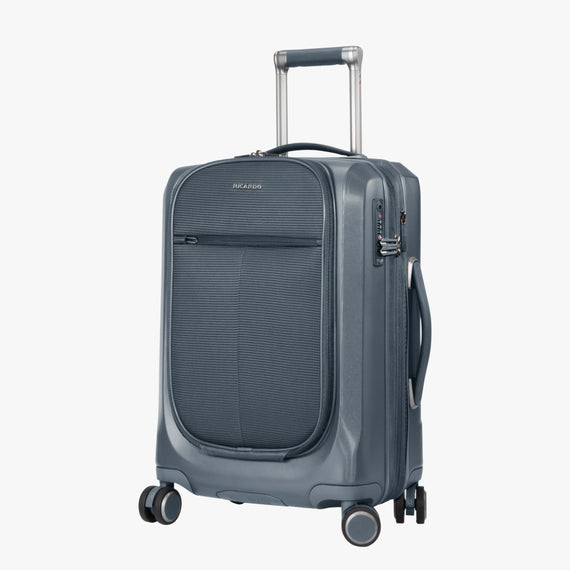Carry-On Cupertino 20-inch Carry-On Suitcase in Winter Blue Quarterfront View in  in Color:Winter Blue in  in Description:Angled View
