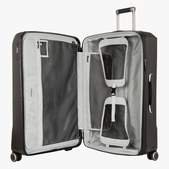 Large Check-In Cupertino 29-inch Check-In Suitcase in Black Open View in  in Color:Black in  in Description:Opened