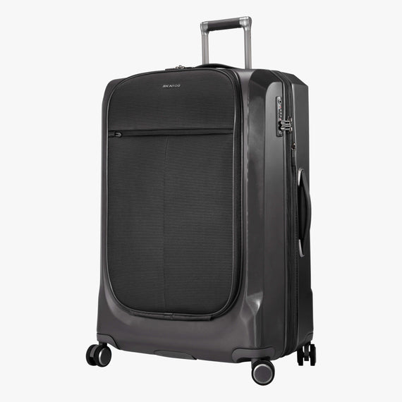 Large Check-In Cupertino 29-inch Check-In Suitcase in Black Quarterfront View in  in Color:Black in  in Description:Angled View