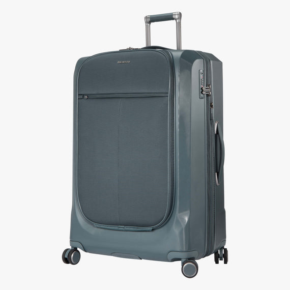 Large Check-In Cupertino 29-inch Check-In Suitcase in Winter Blue Quarterfront View in  in Color:Winter Blue in  in Description:Angled View