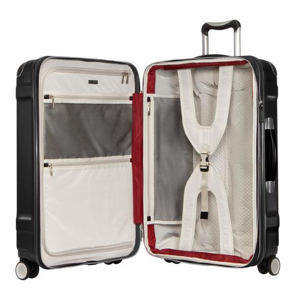 Medium Check-In Rodeo Drive 25-inch Check-In Suitcase in Black Open View in  in Color:Black in  in Description:Opened