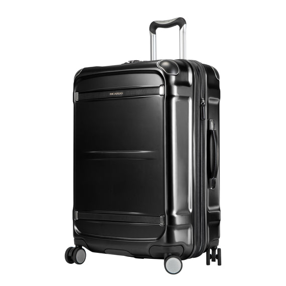 Medium Check-In Rodeo Drive 25-inch Check-In Suitcase in Black Angled View in  in Color:Black in  in Description:Angled View