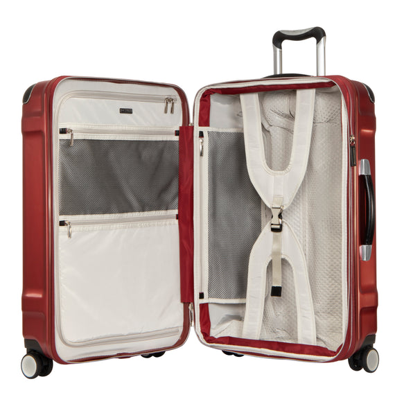 Medium Check-In Rodeo Drive 25-inch Check-In Suitcase in Crimson Flash Open View in  in Color:Crimson Flash in  in Description:Opened
