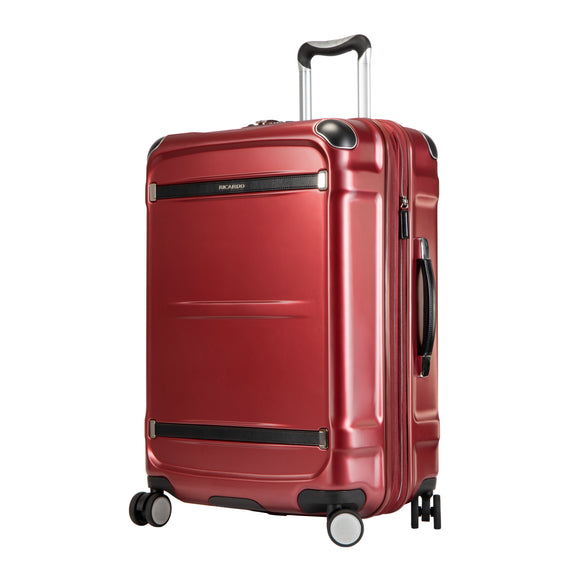 Medium Check-In Rodeo Drive 25-inch Check-In Suitcase in Crimson Flash Angled View in  in Color:Crimson Flash in  in Description:Angled View