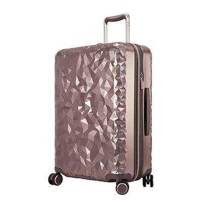 metallic topaz hardside Indio check-in suitcase with textured shell