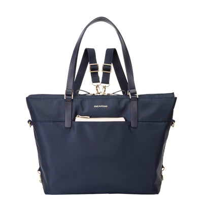 front view of navy blue Ricardo Indio travel tote with optional backpack straps