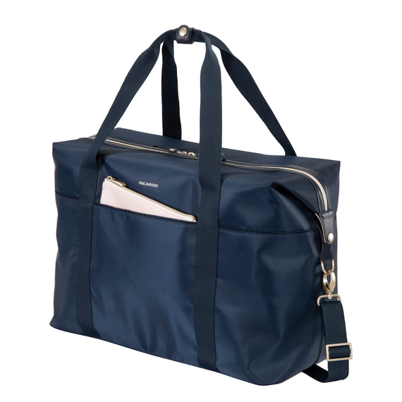 Weekender Duffel Indio Weekender Duffel in Dark Navy Angled View in  in Color:Dark Navy in  in Description:Angled View