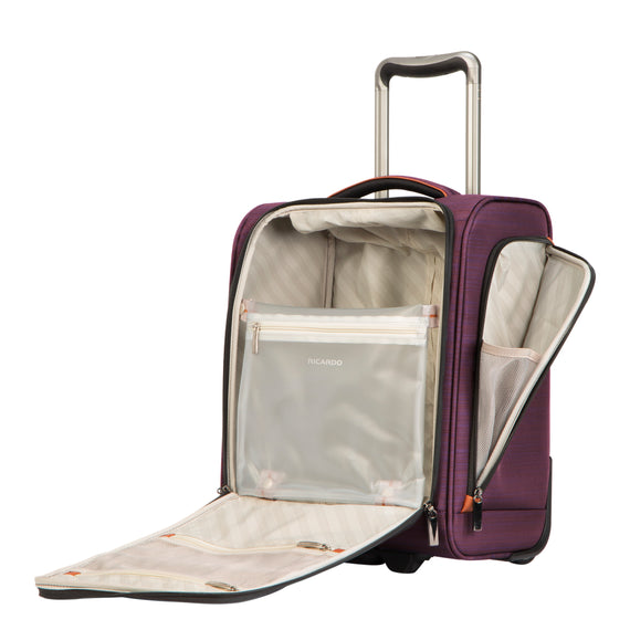 Small Carry-On Montecito 16-inch Rolling Tote in Purple Open View in  in Color:Purple in  in Description:Open