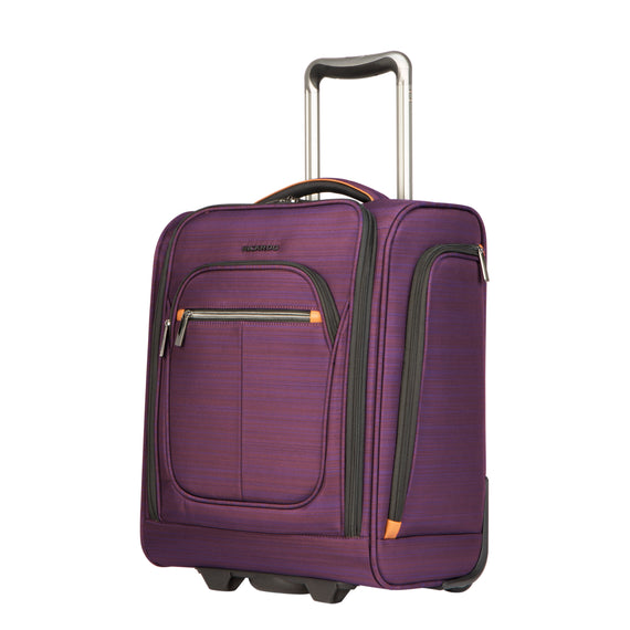 Small Carry-On Montecito 16-inch Rolling Tote in Purple Quarter front View in  in Color:Purple in  in Description:Angled View