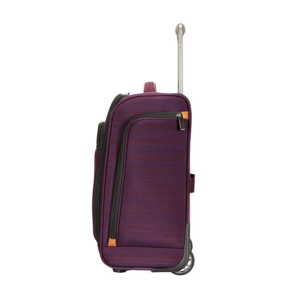 Small Carry-On Montecito 16-inch Rolling Tote in Purple Side View in  in Color:Purple in  in Description:Side