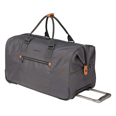 Weekender Rolling Duffel Montecito 22-inch Rolling Duffel in Gray Quarter Front View in  in Color:Gray in  in Description:Angled View