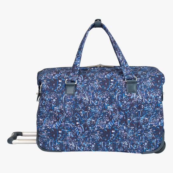 Weekender Rolling Duffel Sausalito 20-inch Rolling Duffel in Blue Twist Back View in  in Color:Blue Twist in  in Description:Back