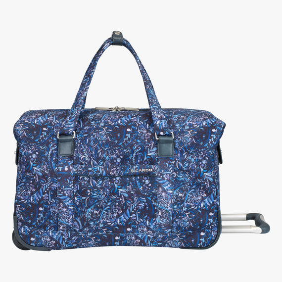Weekender Rolling Duffel Sausalito 20-inch Rolling Duffel in Blue Twist Front View in  in Color:Blue Twist in  in Description:Front
