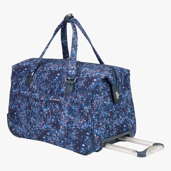 Weekender Rolling Duffel Sausalito 20-inch Rolling Duffel in Blue Twist Quarter Front View in  in Color:Blue Twist in  in Description:Angled View