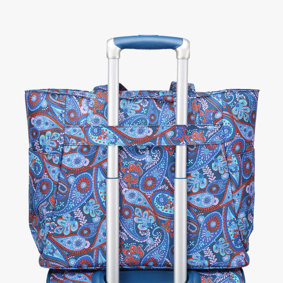 Travel Tote Delano Travel Tote in Indigo Paisley Detail in  in Color:Indigo Paisley in  in Description:Detail