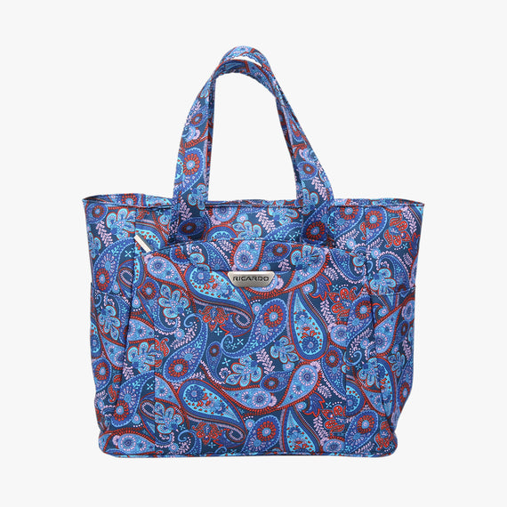 Travel Tote Delano Travel Tote in Indigo Paisley Front View in  in Color:Indigo Paisley in  in Description:Front