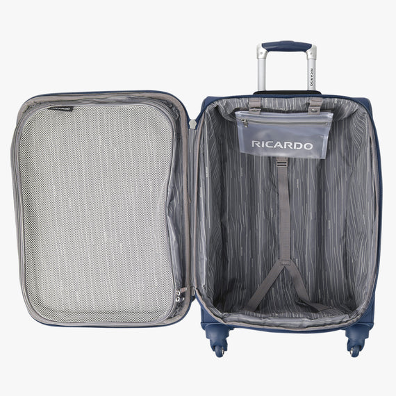 Carry-On Delano 21-inch Carry-On Suitcase in Patriot Blue Open View in  in Color:Patriot Blue in  in Description:Opened