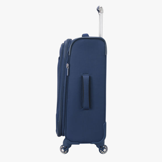 Carry-On Delano 21-inch Carry-On Suitcase in Patriot Blue Side View in  in Color:Patriot Blue in  in Description:Side