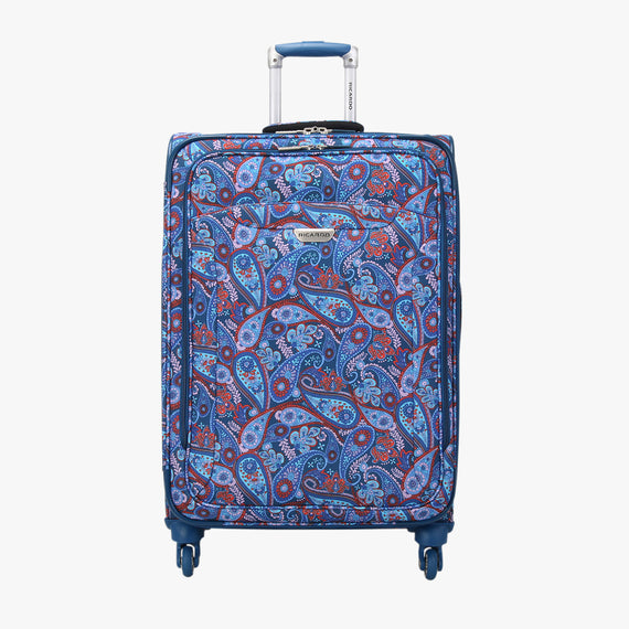 Medium Check-In Delano 25-inch Check-In Suitcase in Indigo Paisley Front View in  in Color:Indigo Paisley in  in Description:Front