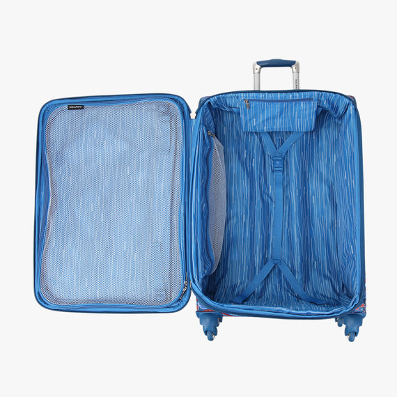 Medium Check-In Delano 25-inch Check-In Suitcase in Indigo Paisley Open View in  in Color:Indigo Paisley in  in Description:Opened