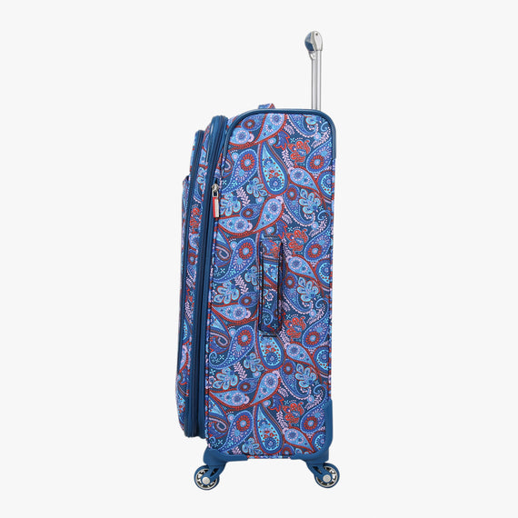 Medium Check-In Delano 25-inch Check-In Suitcase in Indigo Paisley Side View in  in Color:Indigo Paisley in  in Description:Side