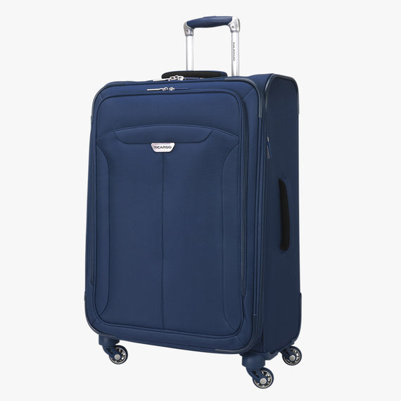 Medium Check-In Delano 25-inch Check-In Suitcase in Patriot Blue Open View in  in Color:Patriot Blue in  in Description:Angled