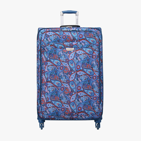 Large Check-In Delano 29-inch Check-In Suitcase in Indigo Paisley Front View in  in Color:Indigo Paisley in  in Description:Front