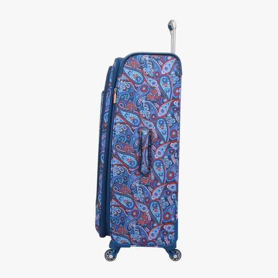Large Check-In Delano 29-inch Check-In Suitcase in Indigo Paisley Side View in  in Color:Indigo Paisley in  in Description:Side