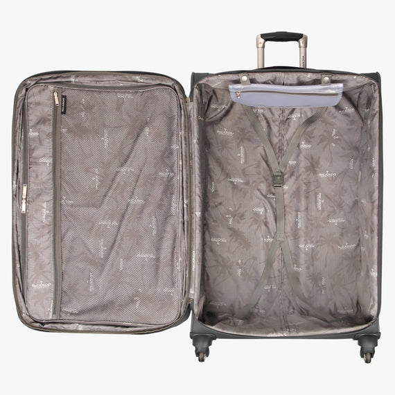 Large Check-In Santa Cruz 6.0 28-inch Large Check-in Suitcase in Grey Open View in  in Color:Grey in  in Description:Open