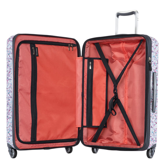 Medium Check-In Beaumont Medium Check-in Suitcase in Confetti Open View in  in Color:Confetti in  in Description:Opened
