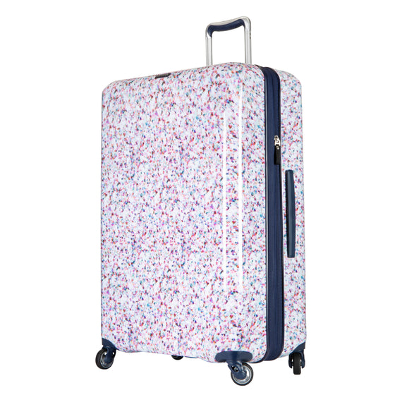 Large Check-in Beaumont Large Check-In Suitcase in Confetti Quarter Front View in  in Color:Confetti in  in Description:Angled View