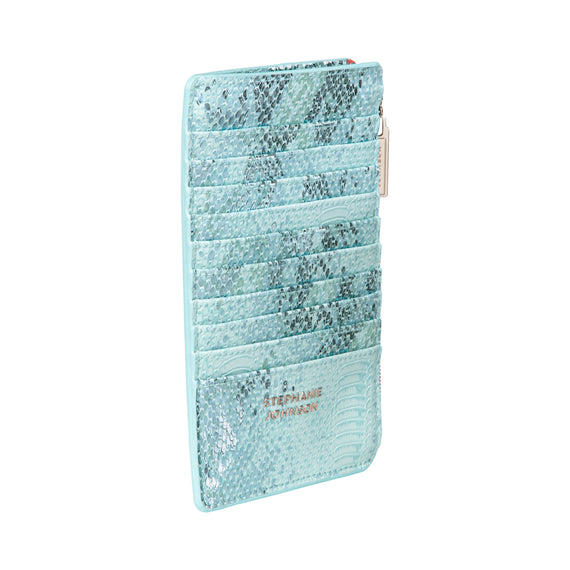 Emma Slim Wallet Grace Brush Case in Cairo - Oasis Back Angle View in  in Color:Cairo - Oasis in  in Description:Back Angle