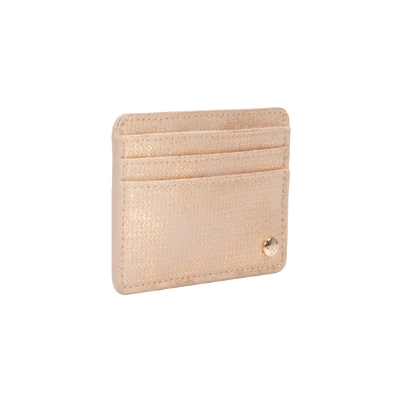 Slim Card Holder Slim Card Holder in Jakarta - Gold Angled View in  in Color:Jakarta - Gold in  in Description:Angled View