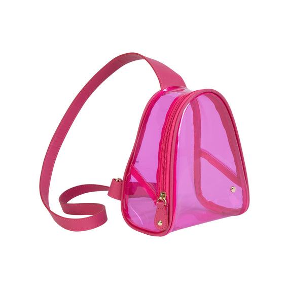 Rachael Crossbody Backpack Rachael Crossbody Backpack in Miami - Raspberry Angled View in  in Color:Miami - Raspberry in  in Description:Angled View