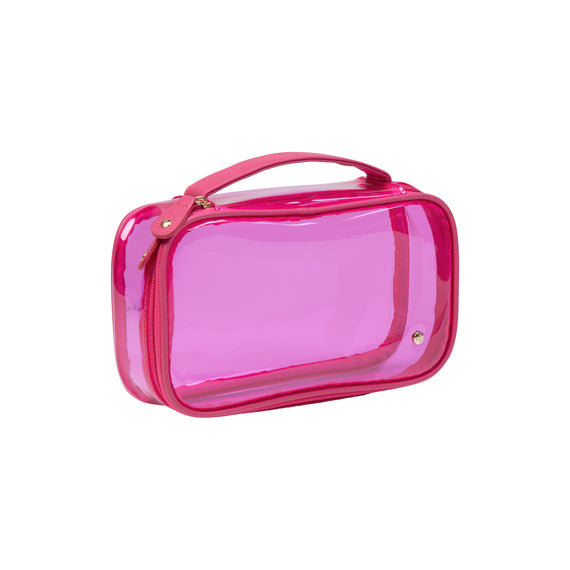Claire Medium Makeup Case Claire Medium Makeup Case in Miami - Raspberry Angled View in  in Color:Miami - Raspberry in  in Description:Angled View