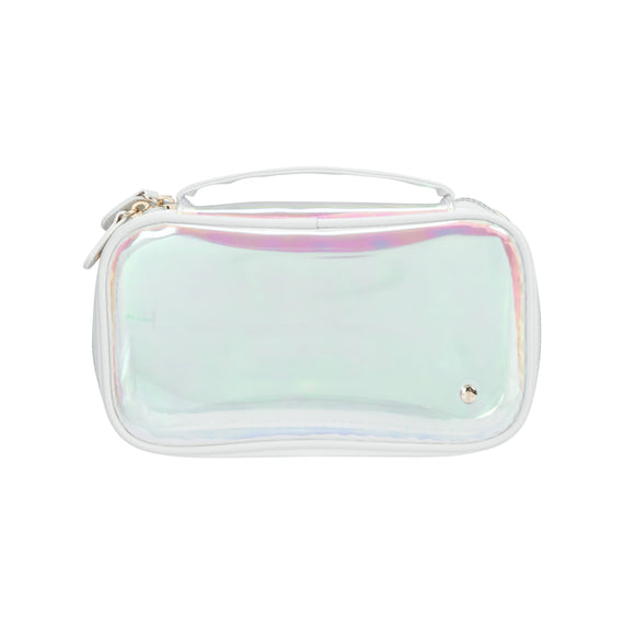 Claire Medium Makeup Case Claire Medium Makeup Case in Miami - White Front View in  in Color:Miami - White in  in Description:Front