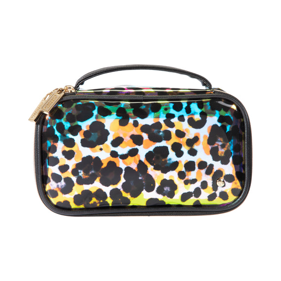 Claire Medium Makeup Case Claire Medium Makeup Case in Miami - Cheetah Holograph Front View in  in Miami - Cheetah Holograph in  in Description:Front