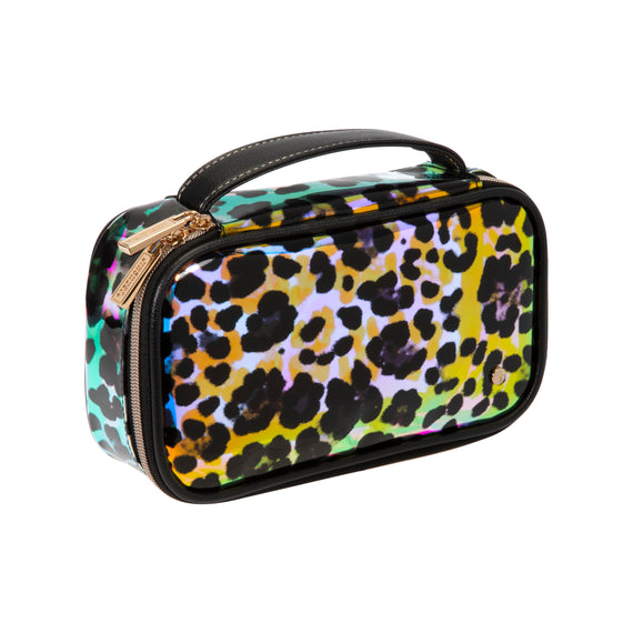 Claire Medium Makeup Case Claire Medium Makeup Case in Miami - Cheetah Holograph Angled View in  in Miami - Cheetah Holograph in  in Description:Angled View