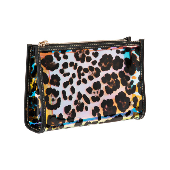 Medium Zip Cosmetic Case Medium Zip Cosmetic Case in Miami - Cheetah Holograph Angled view in  in Color:Miami - Cheetah Holograph in  in Description:Angled View