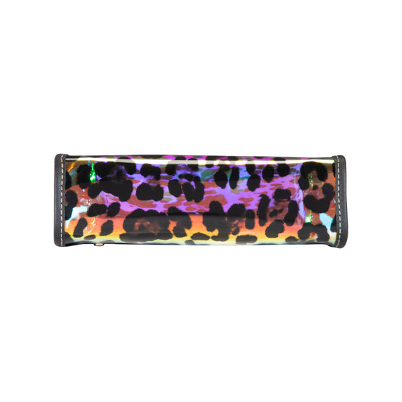 Medium Zip Cosmetic Case Medium Zip Cosmetic Case in Miami - Cheetah Holograph Bottom view in  in Color:Miami - Cheetah Holograph in  in Description:Bottom