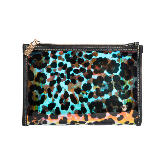 Medium Zip Cosmetic Case Medium Zip Cosmetic Case in Miami - Cheetah Holograph Front view in  in Color:Miami - Cheetah Holograph in  in Description:Front