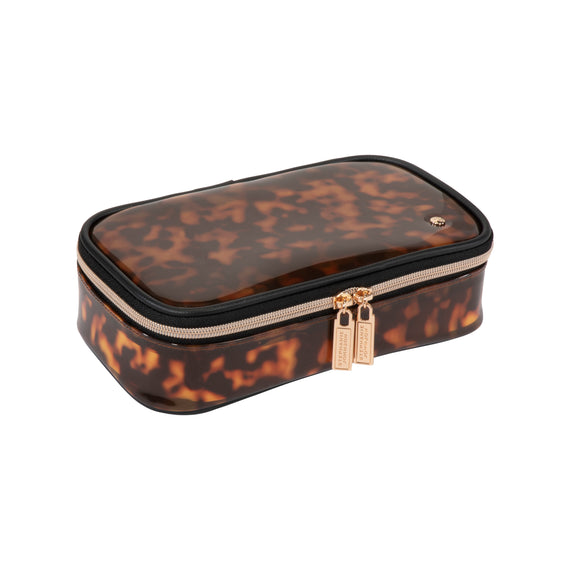 Claire Medium Makeup Case Claire Medium Makeup Case in Miami - Clearly Tortoise Top View in  in Miami - Clearly Tortoise in  in Description:Top