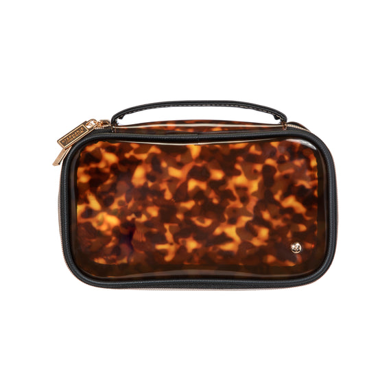 Claire Medium Makeup Case Claire Medium Makeup Case in Miami - Clearly Tortoise Front View in  in Miami - Clearly Tortoise in  in Description:Front