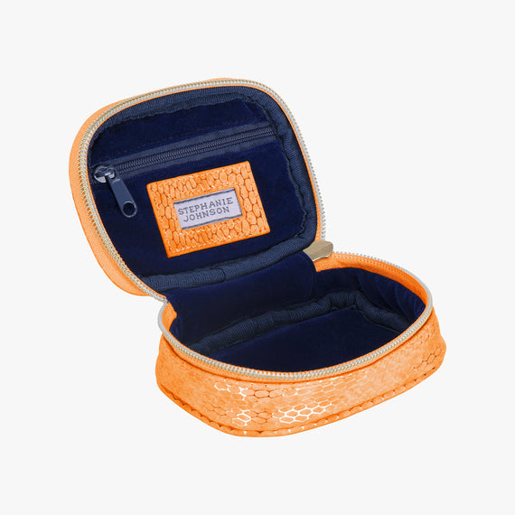 Steph Tiny Treasure Case - Havana Havana Steph tiny treasure case in orange open view in  in Color:Orange in  in Description:Opened