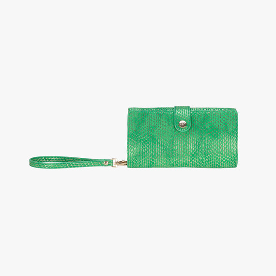 Jane Wristlet Tech Wallet - Havana Havana Jane Wristlet Tech Wallet in Green main view in  in Color:Green in  in Description:Front