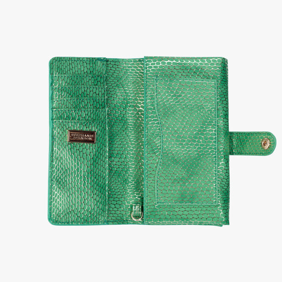 Jane Wristlet Tech Wallet - Havana Havana Jane Wristlet Tech Wallet in Green bottom view in  in Color:Green in  in Description:Opened