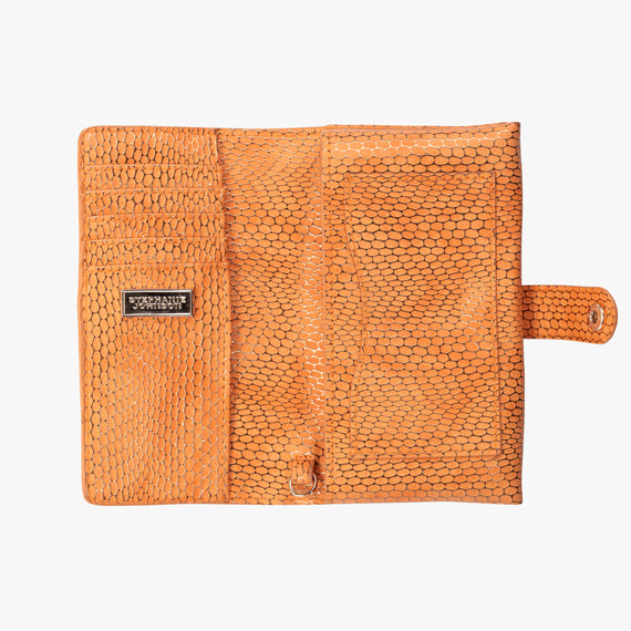 Jane Wristlet Tech Wallet - Havana Havana Jane Wristlet Tech Wallet in Orange bottom view in  in Color:Orange in  in Description:Opened