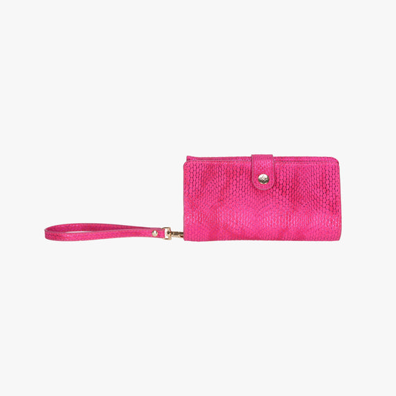 Jane Wristlet Tech Wallet - Havana Havana Jane Wristlet Tech Wallet in Pink main view in  in Color:Pink in  in Description:Front