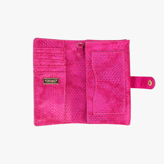Jane Wristlet Tech Wallet - Havana Havana Jane Wristlet Tech Wallet in Pink bottom view in  in Color:Pink in  in Description:Opened
