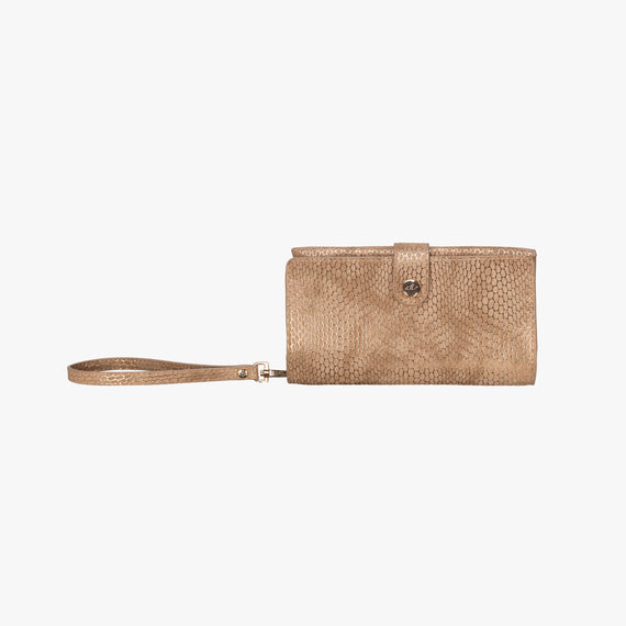 Jane Wristlet Tech Wallet - Havana Havana Jane Wristlet Tech Wallet in Sand main view in  in Color:Sand in  in Description:Front